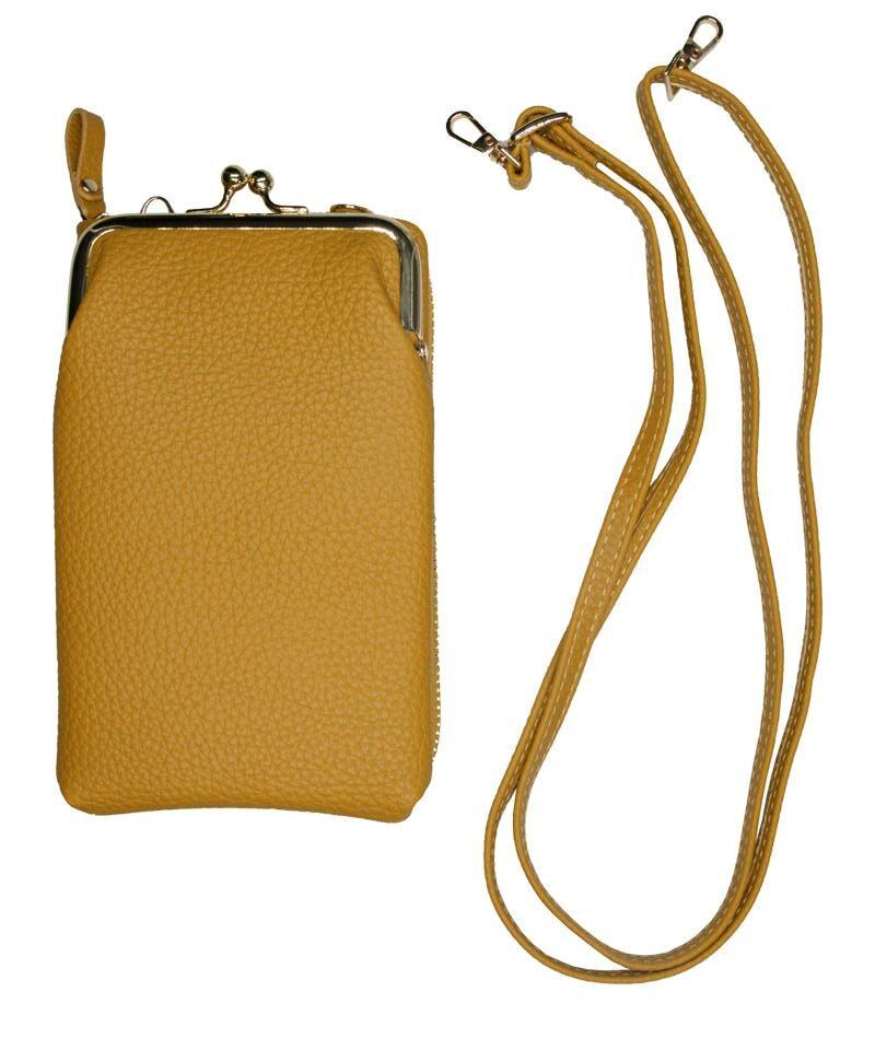 Okergul mobilveske og lommebok
