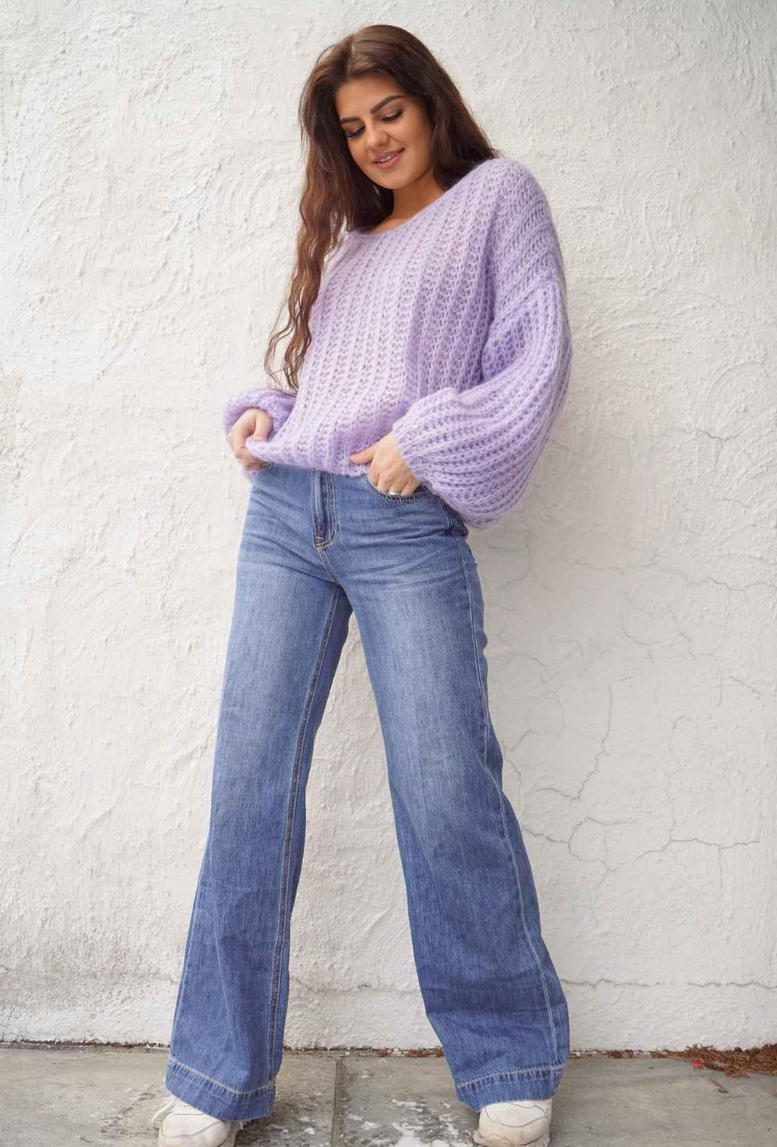 Jeans med vide rette bein