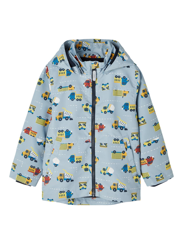 Blå jakke med biler