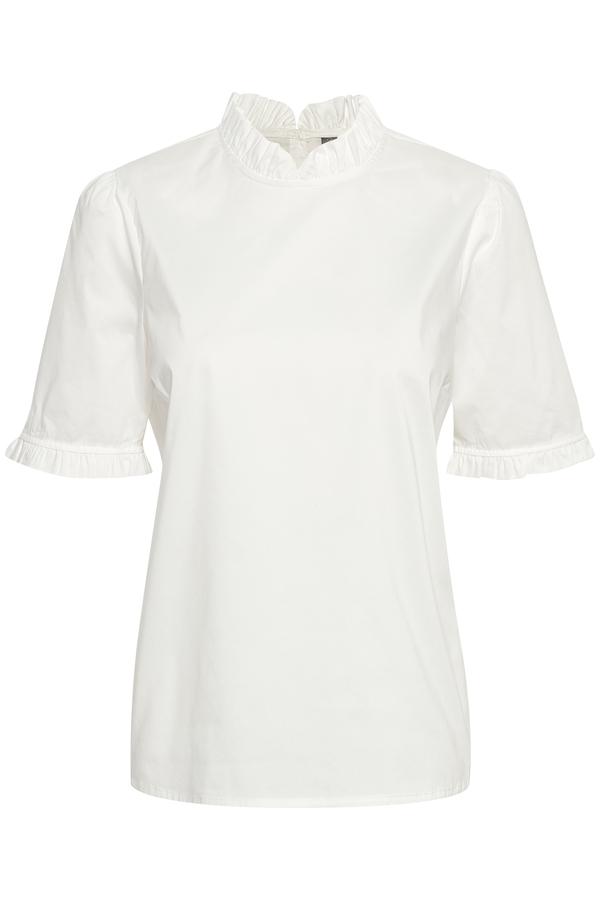Hvit bluse korte ermer