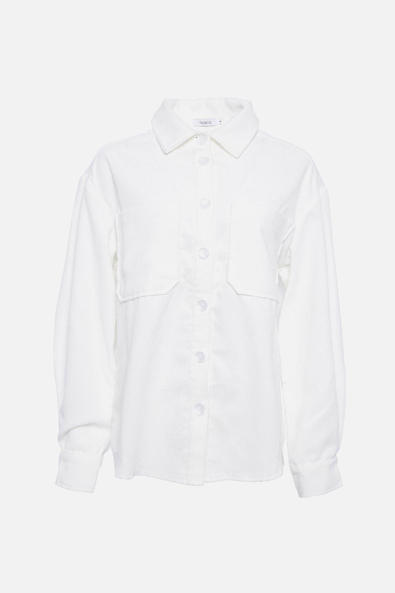 Noella hvit cordskjorte