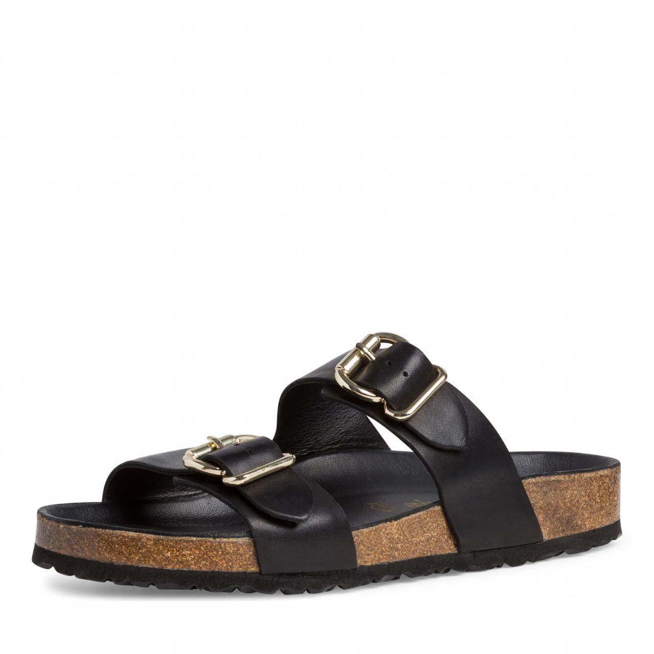 Svarte sandaler med gullspenne