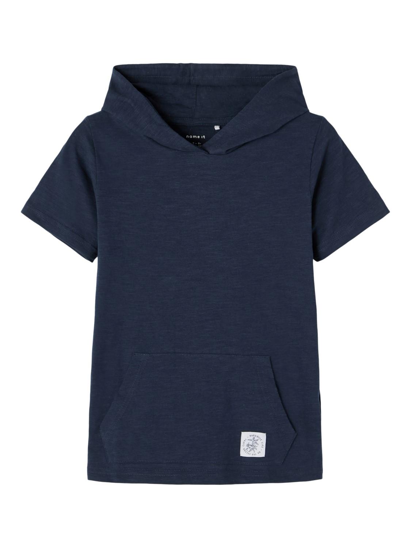 Blå t-skjorte hette