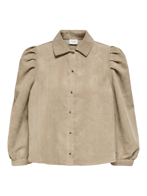 Skjorte med puff Jdy – Jacqueline de Young beige skjorte cord – Mio Trend