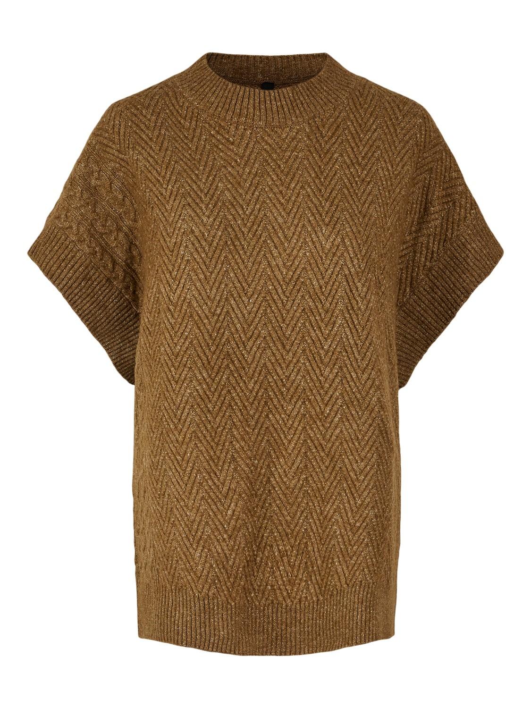 Brun oversizet strikkevest