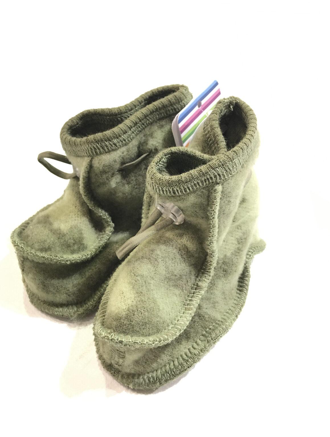 grønne booties i ull